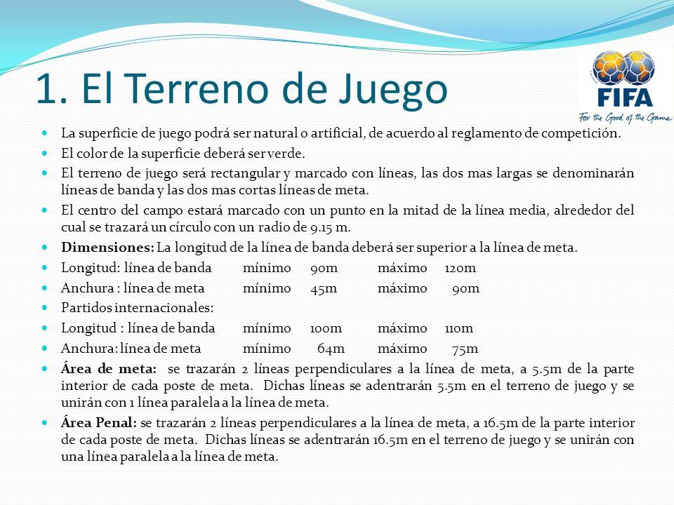 1. El Terreno de Juego La superficie de juego podrá ser natural o artificial, de acuerdo al reglamento de competición.