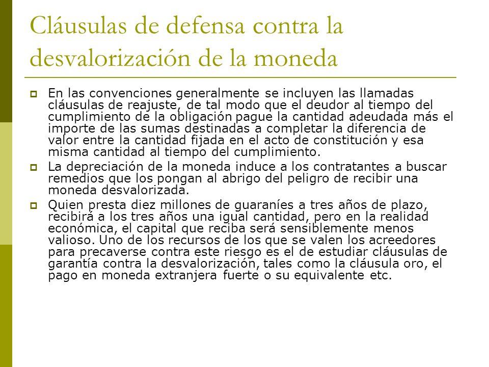 Cláusulas de defensa contra la desvalorización de la moneda