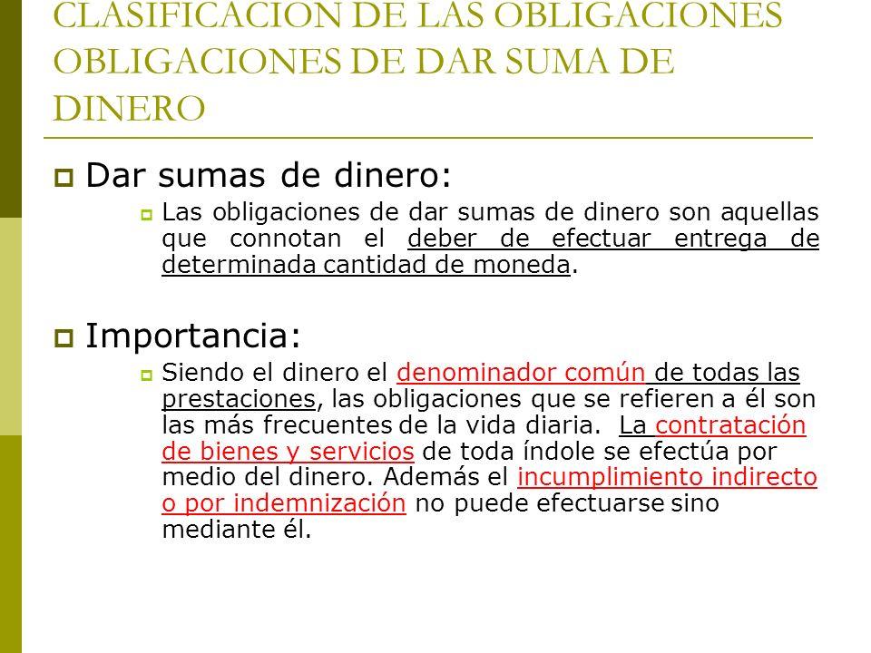 CLASIFICACION DE LAS OBLIGACIONES OBLIGACIONES DE DAR SUMA DE DINERO