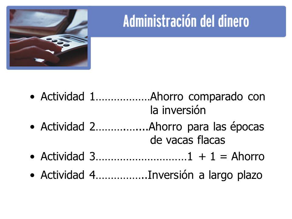 Actividad 1………………Ahorro comparado con la inversión