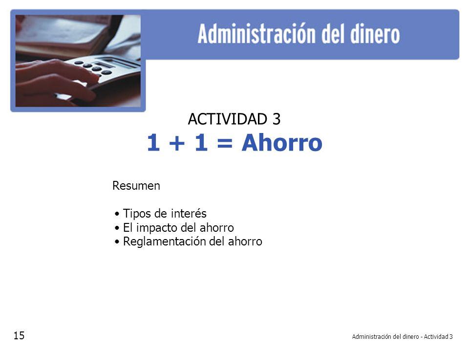 Administración del dinero - Actividad 3