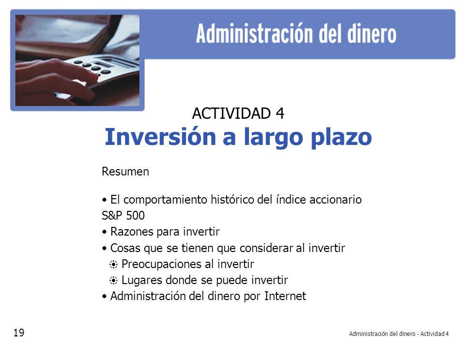 Administración del dinero - Actividad 4