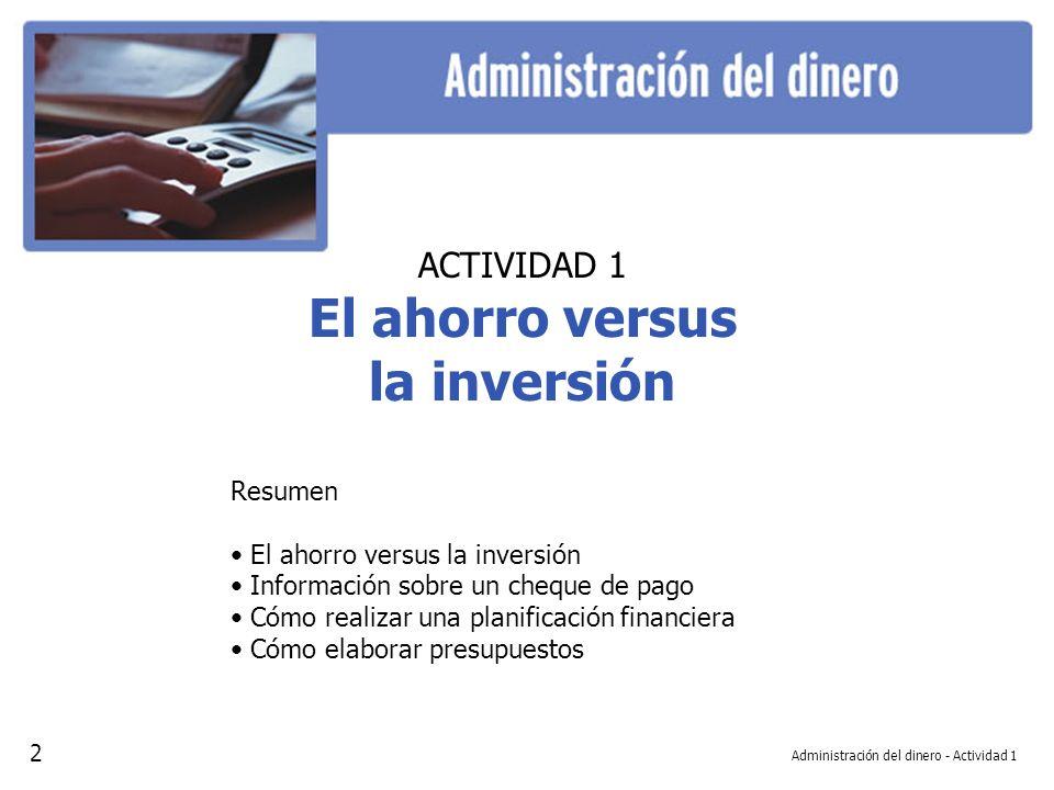 Administración del dinero - Actividad 1