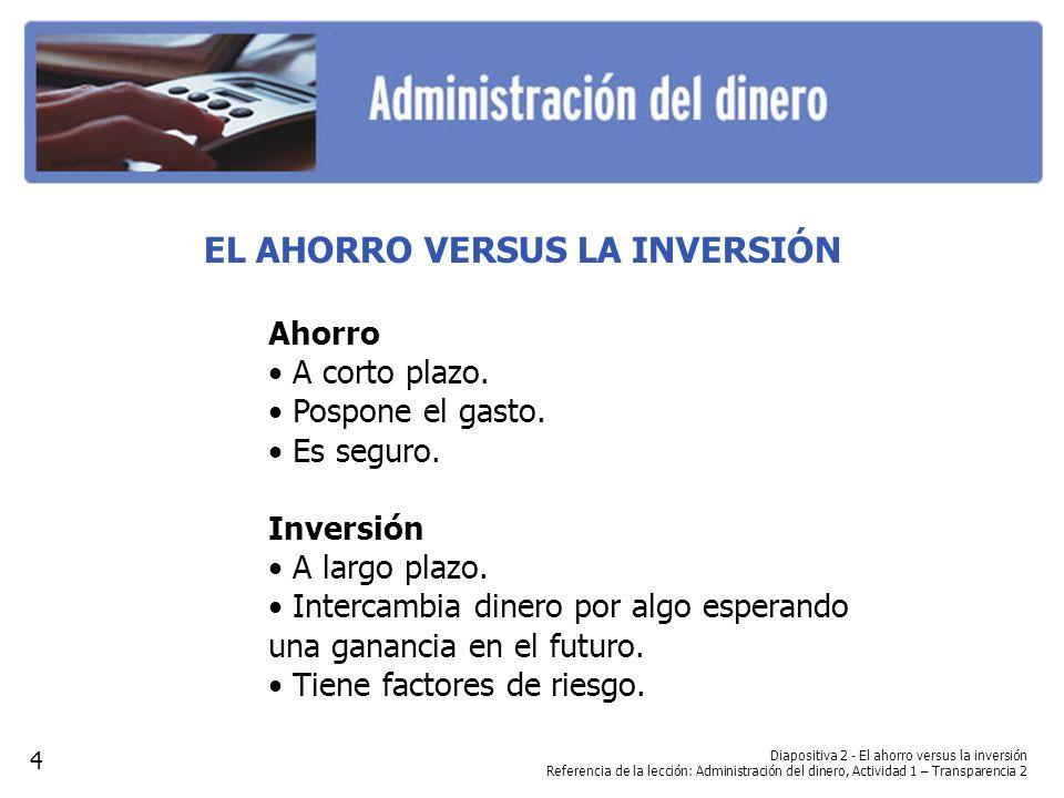 EL AHORRO VERSUS LA INVERSIÓN