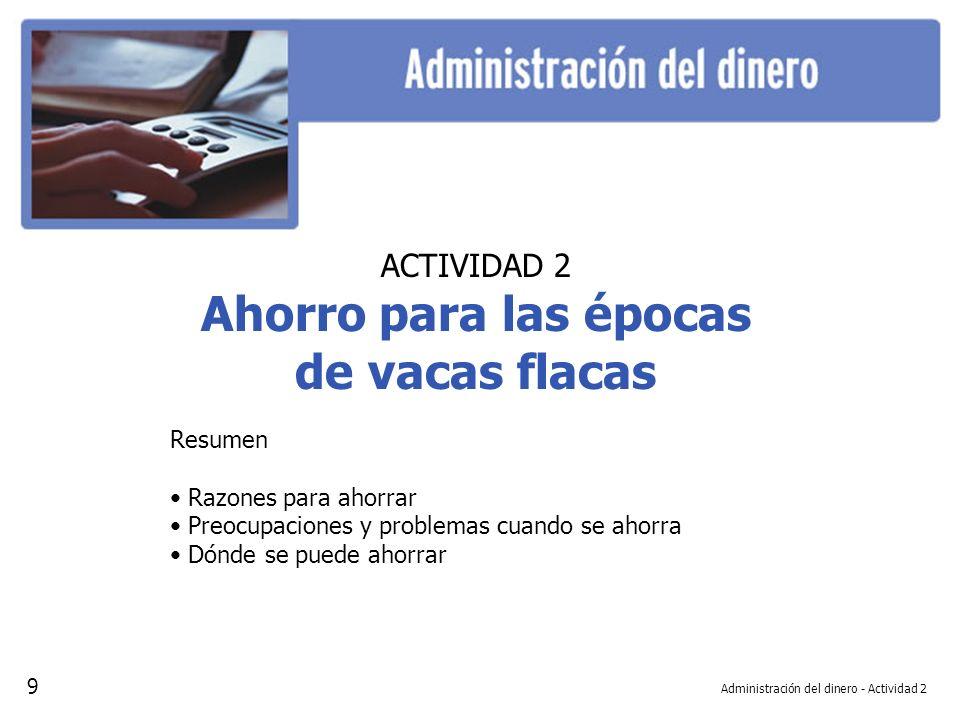 Administración del dinero - Actividad 2