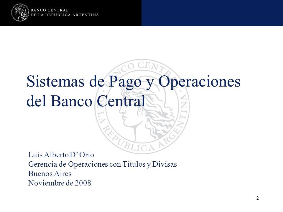 Sistemas de Pago y Operaciones del Banco Central