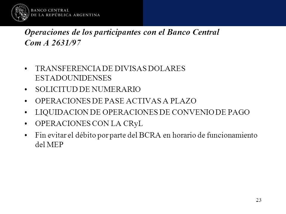 Operaciones de los participantes con el Banco Central Com A 2631/97