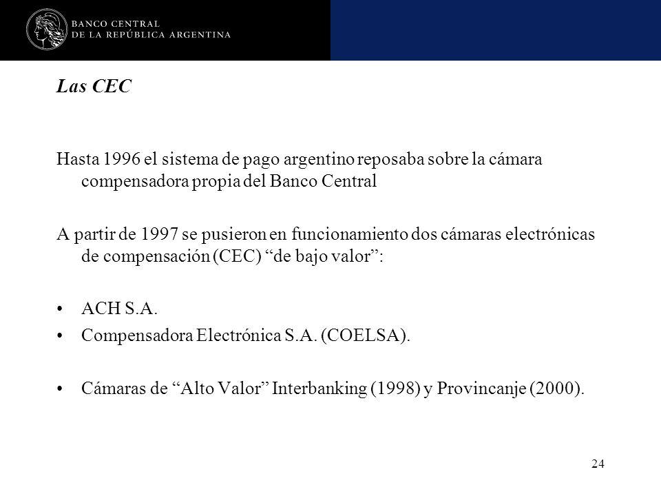 Las CEC Hasta 1996 el sistema de pago argentino reposaba sobre la cámara compensadora propia del Banco Central.