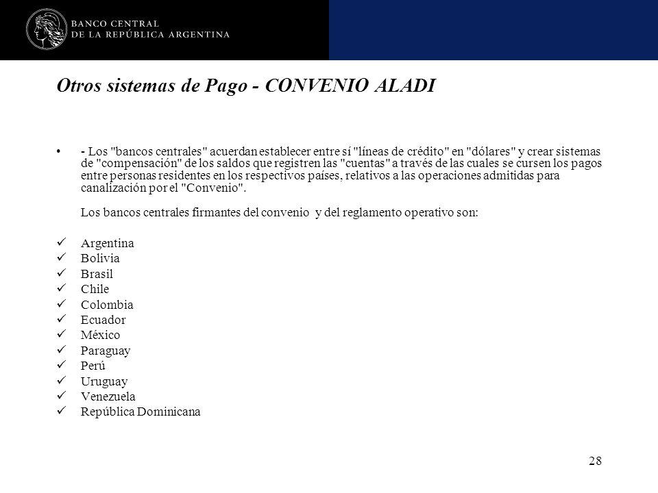 Otros sistemas de Pago - CONVENIO ALADI