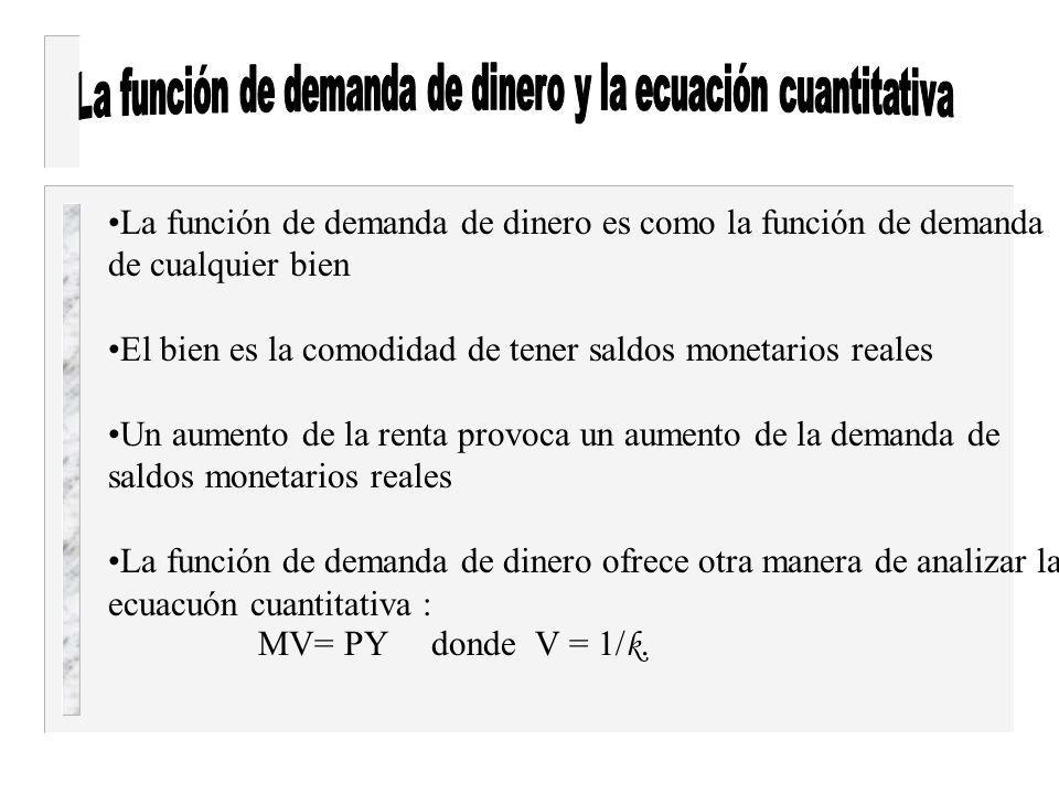 La función de demanda de dinero y la ecuación cuantitativa