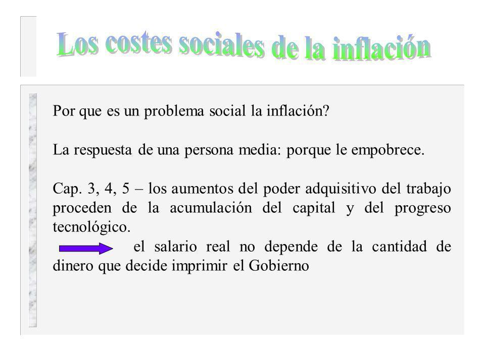 Los costes sociales de la inflación