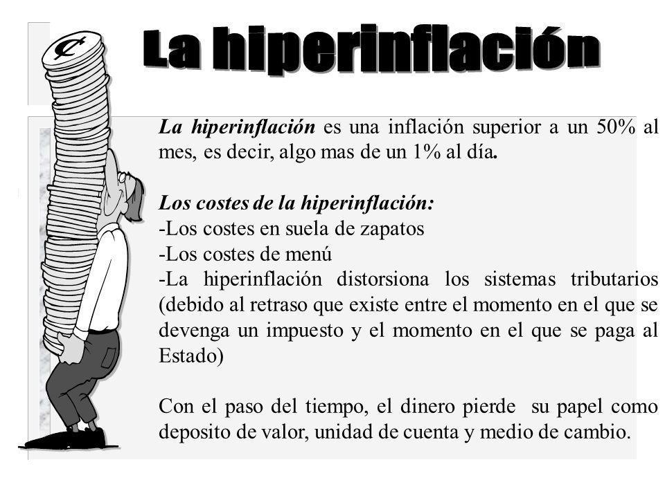 La hiperinflación La hiperinflación es una inflación superior a un 50% al mes, es decir, algo mas de un 1% al día.
