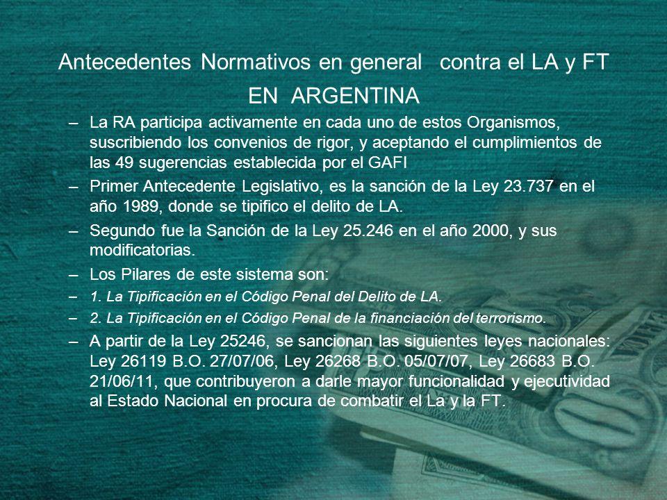 Antecedentes Normativos en general contra el LA y FT EN ARGENTINA