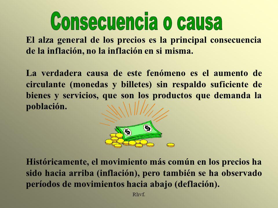 Consecuencia o causa El alza general de los precios es la principal consecuencia de la inflación, no la inflación en si misma.