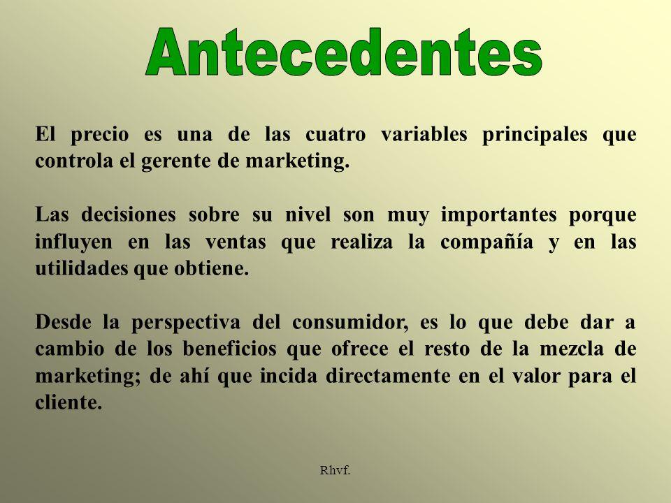 Antecedentes El precio es una de las cuatro variables principales que controla el gerente de marketing.