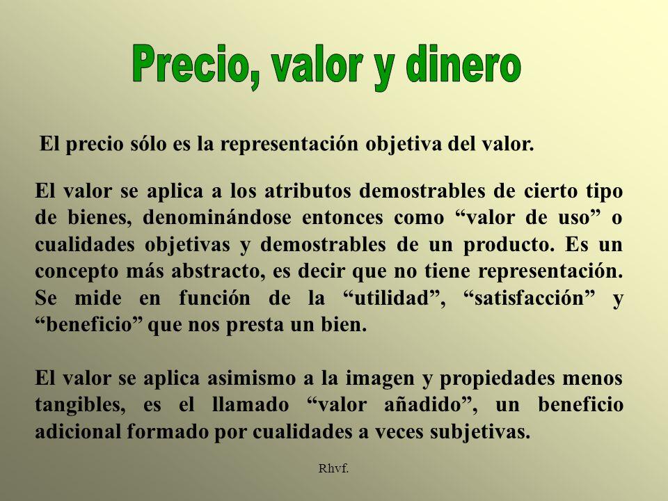 Precio, valor y dinero El precio sólo es la representación objetiva del valor.