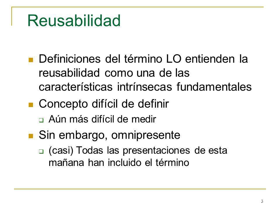 Reusabilidad Definiciones del término LO entienden la reusabilidad como una de las características intrínsecas fundamentales.
