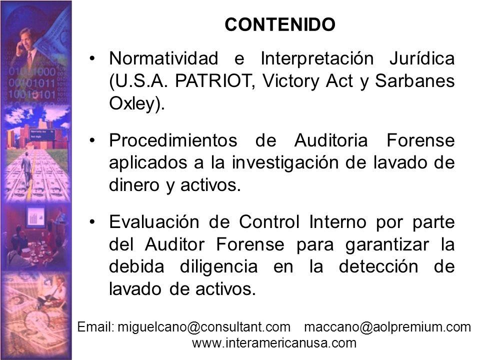 CONTENIDO Normatividad e Interpretación Jurídica (U.S.A. PATRIOT, Victory Act y Sarbanes Oxley).