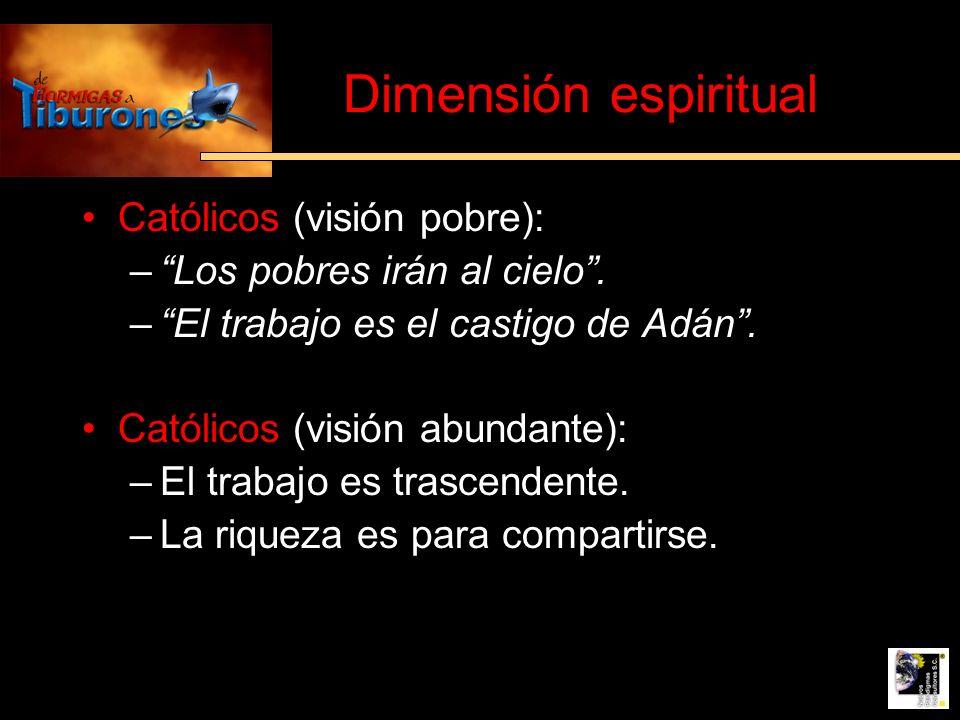 Dimensión espiritual Católicos (visión pobre):