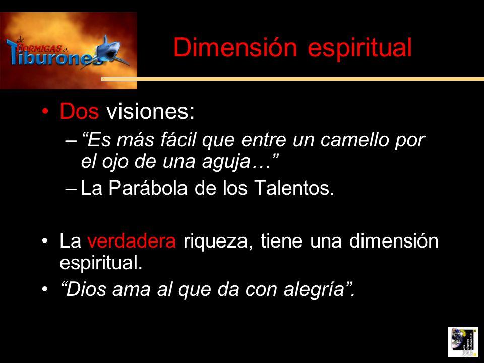 Dimensión espiritual Dos visiones: