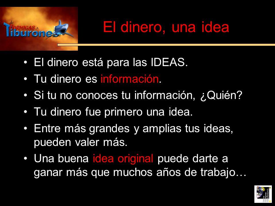 El dinero, una idea El dinero está para las IDEAS.