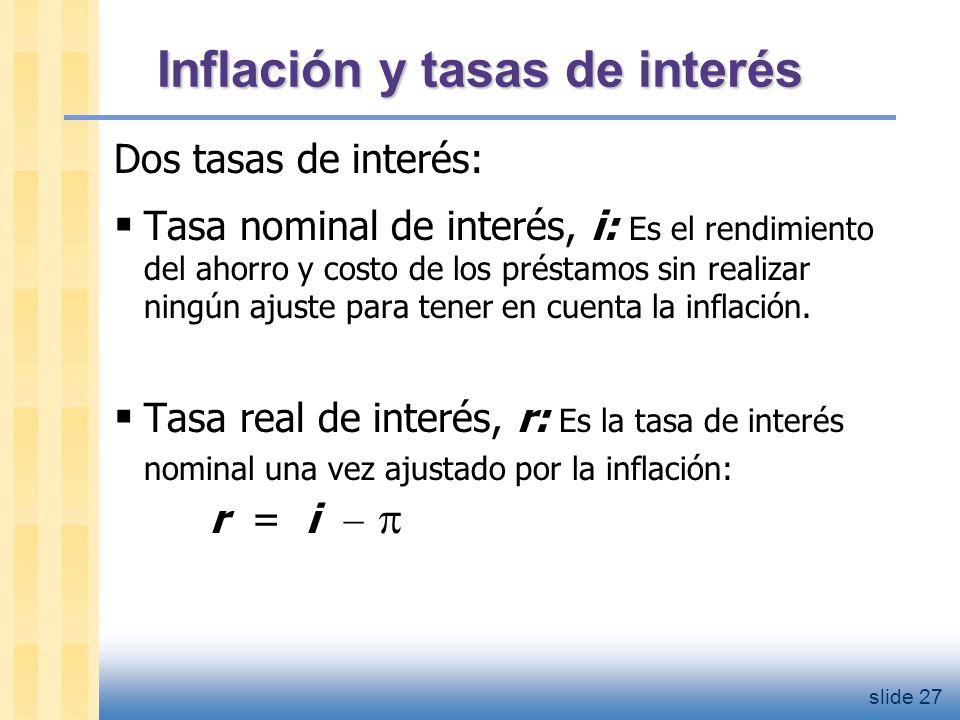 El efecto Fisher Ecuación de Fisher : i = r + 