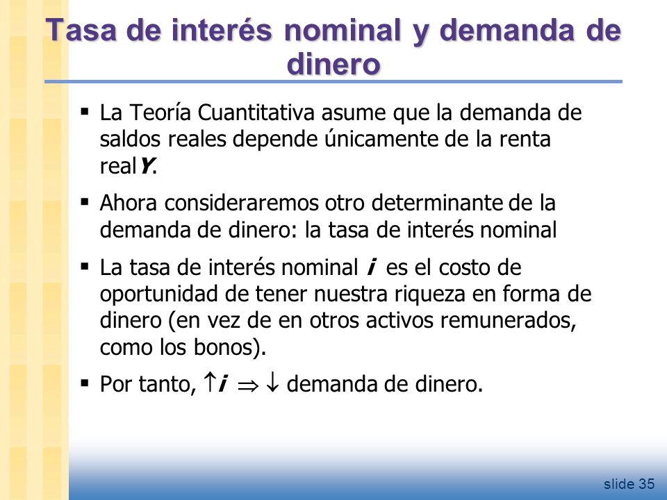La demanda de dinero (M/P )d = demanda de saldos reales, depende
