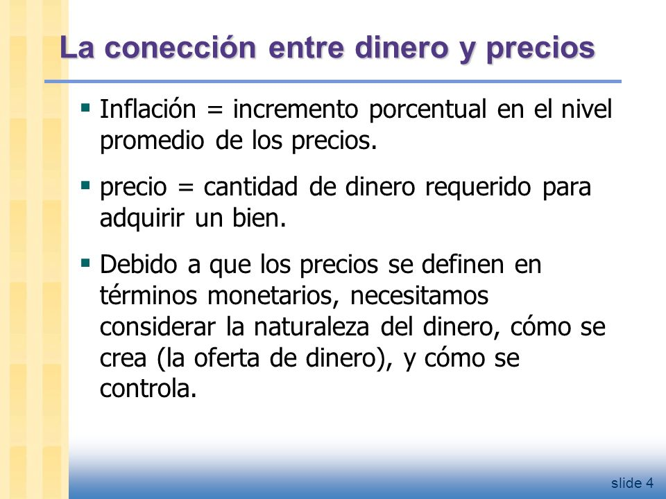 Dinero: definición El dinero es el stock de activos que pueden ser fácilmente usados para hacer transacciones.