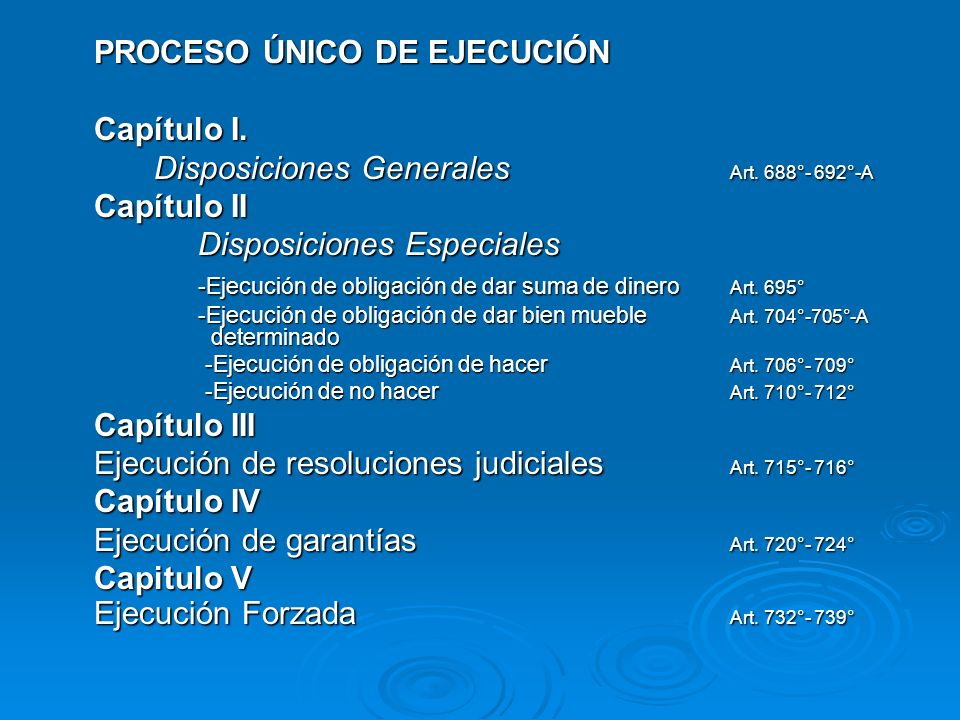 PROCESO ÚNICO DE EJECUCIÓN Capítulo I.
