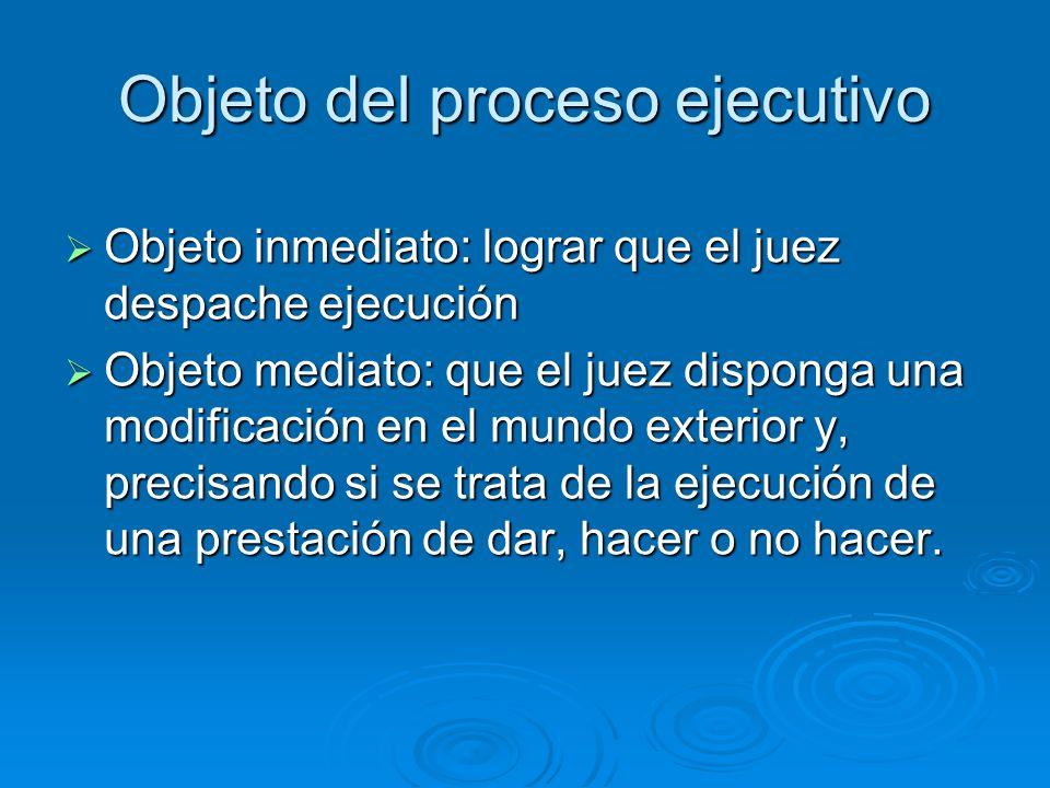 Objeto del proceso ejecutivo