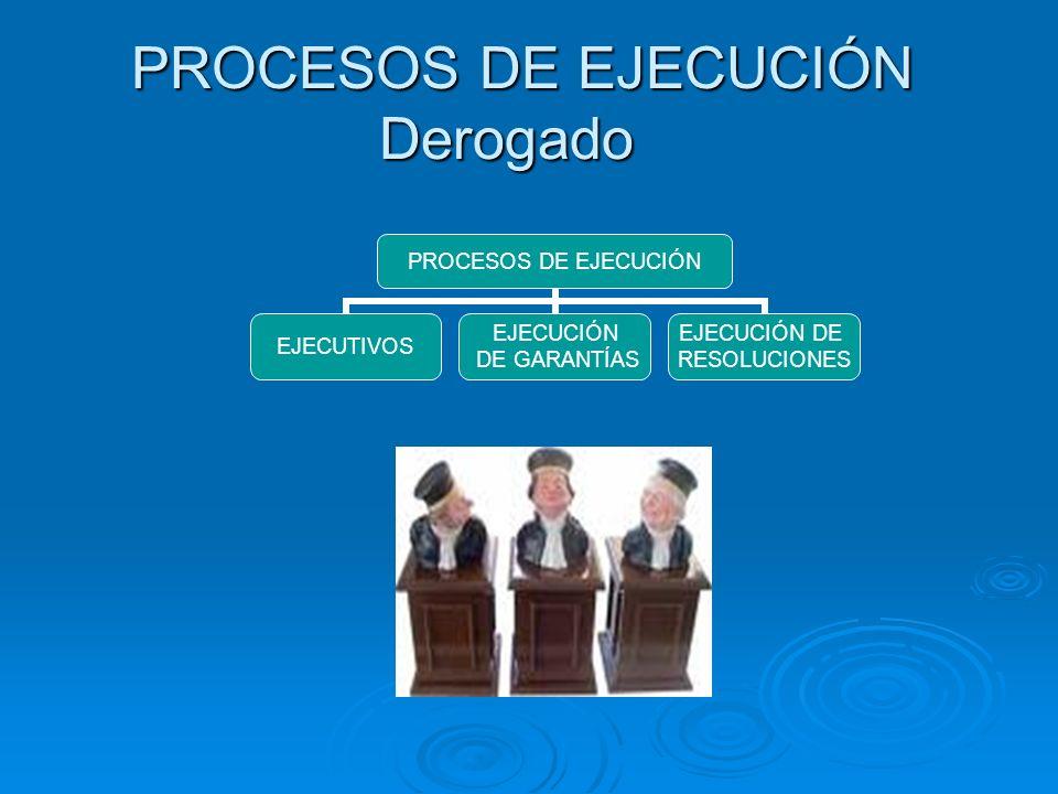 PROCESOS DE EJECUCIÓN Derogado