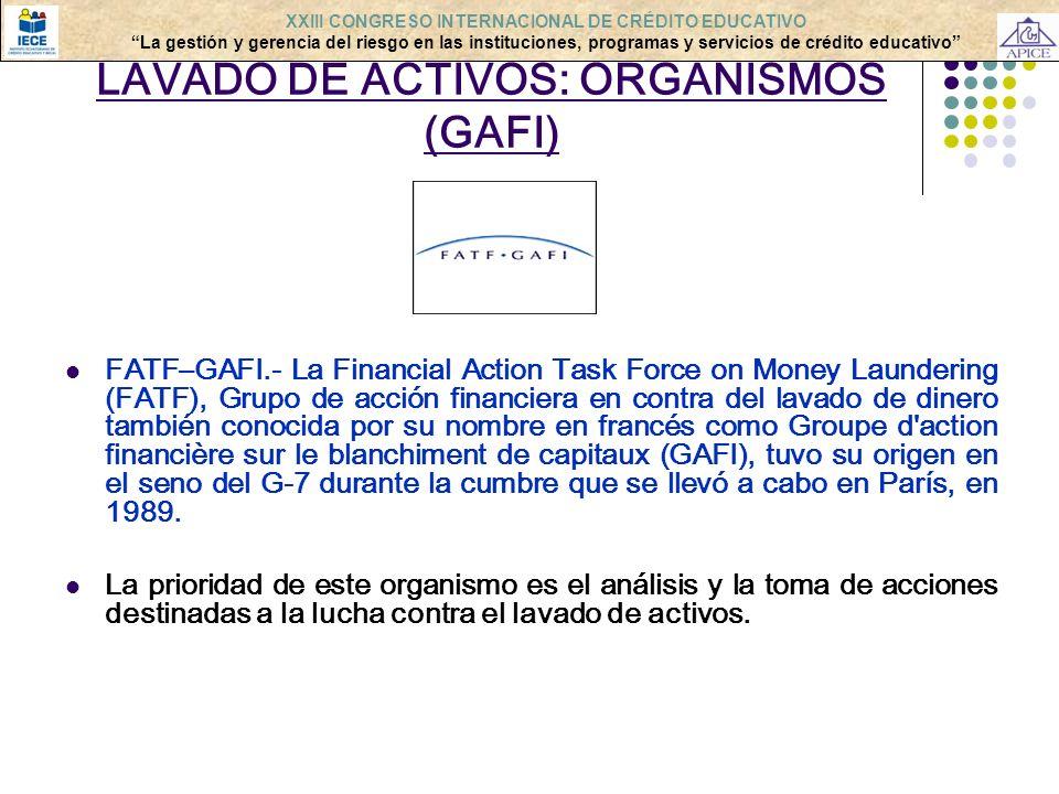 LAVADO DE ACTIVOS: ORGANISMOS (GAFI)