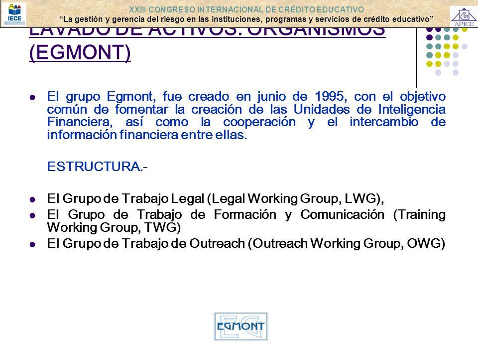 LAVADO DE ACTIVOS: ORGANISMOS (EGMONT)