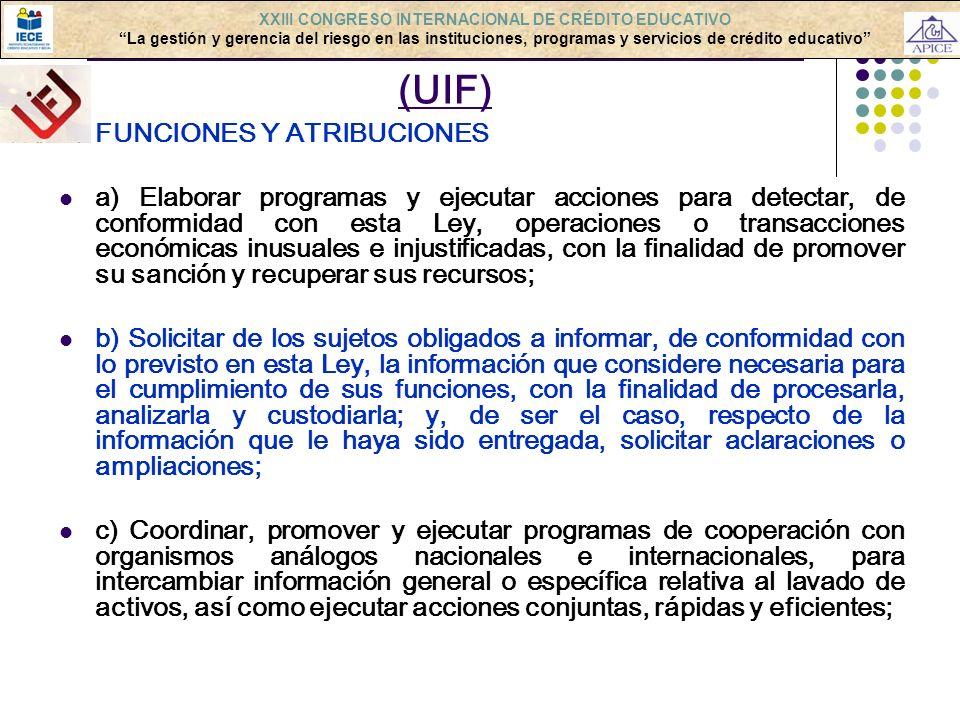 LAVADO DE ACTIVOS: ORGANISMOS (UIF)