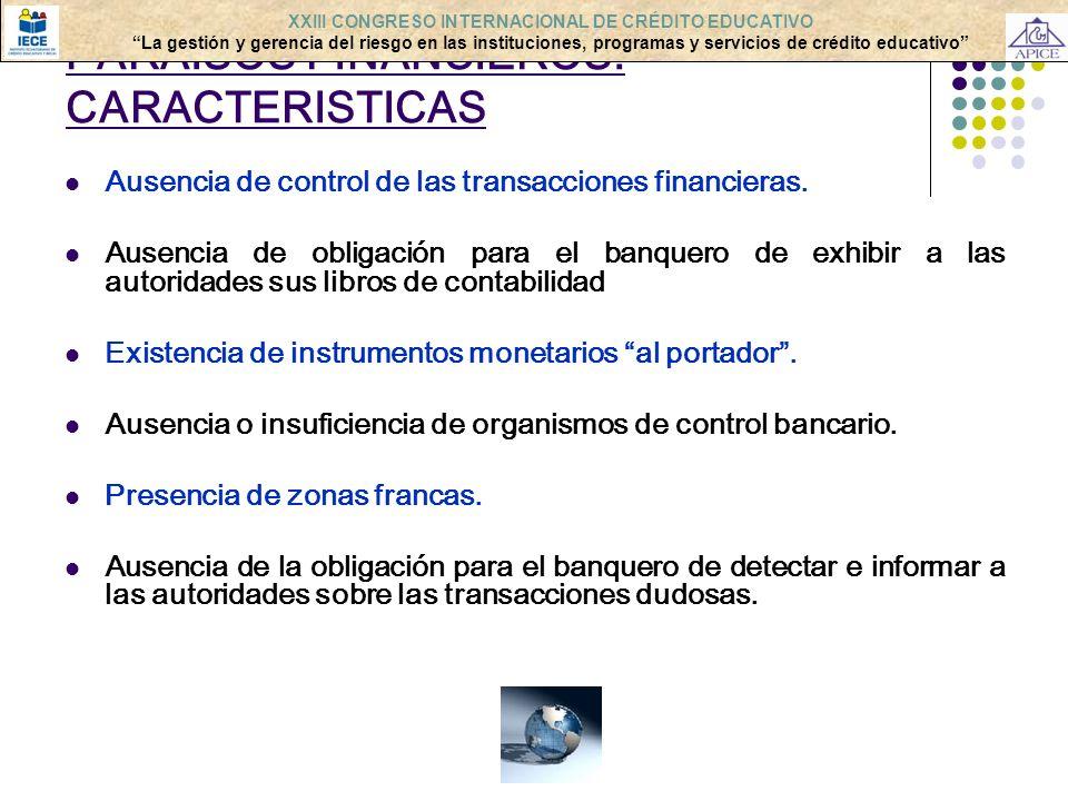 PARAISOS FINANCIEROS: CARACTERISTICAS