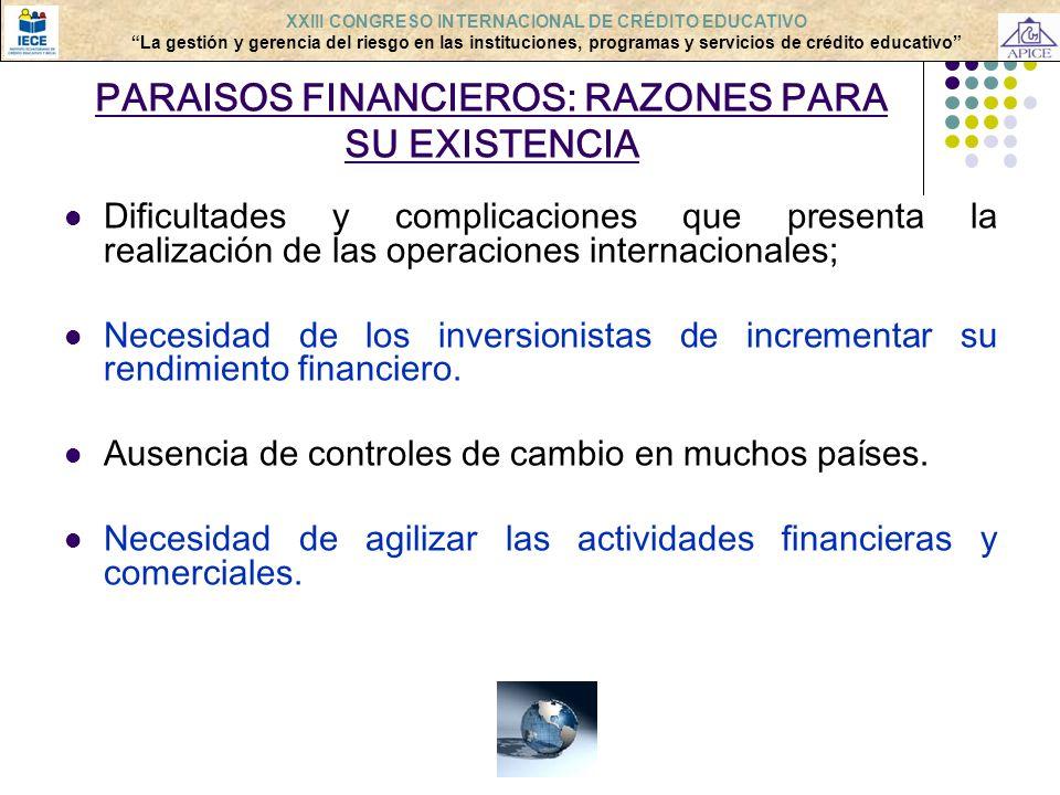 PARAISOS FINANCIEROS: RAZONES PARA SU EXISTENCIA