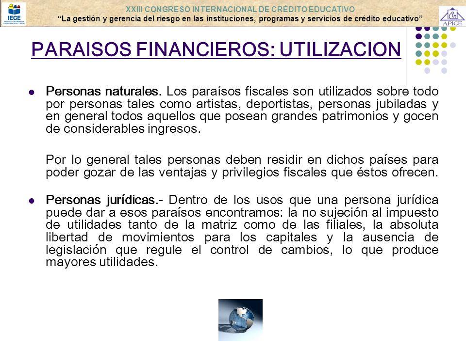 PARAISOS FINANCIEROS: UTILIZACION