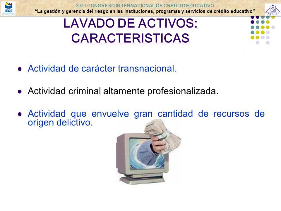LAVADO DE ACTIVOS: CARACTERISTICAS