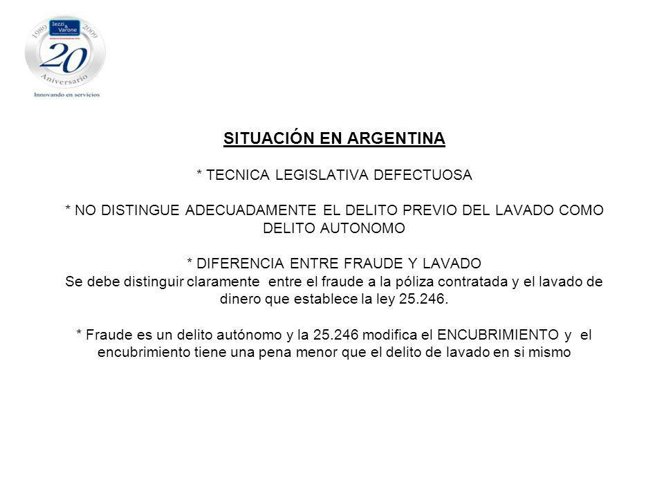 SITUACIÓN EN ARGENTINA. TECNICA LEGISLATIVA DEFECTUOSA