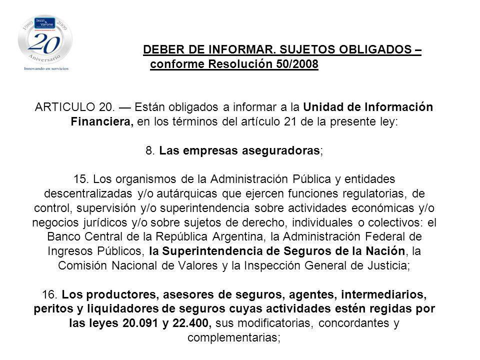 DEBER DE INFORMAR. SUJETOS OBLIGADOS – conforme Resolución 50/2008 ARTICULO 20.