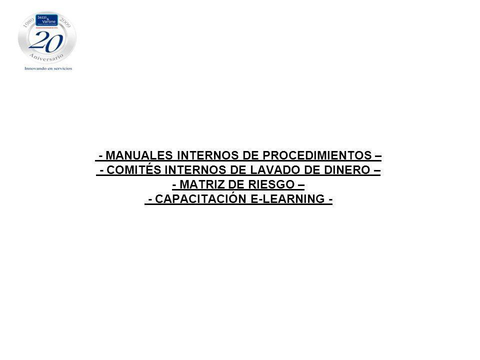 - MANUALES INTERNOS DE PROCEDIMIENTOS – - COMITÉS INTERNOS DE LAVADO DE DINERO – - MATRIZ DE RIESGO – - CAPACITACIÓN E-LEARNING -