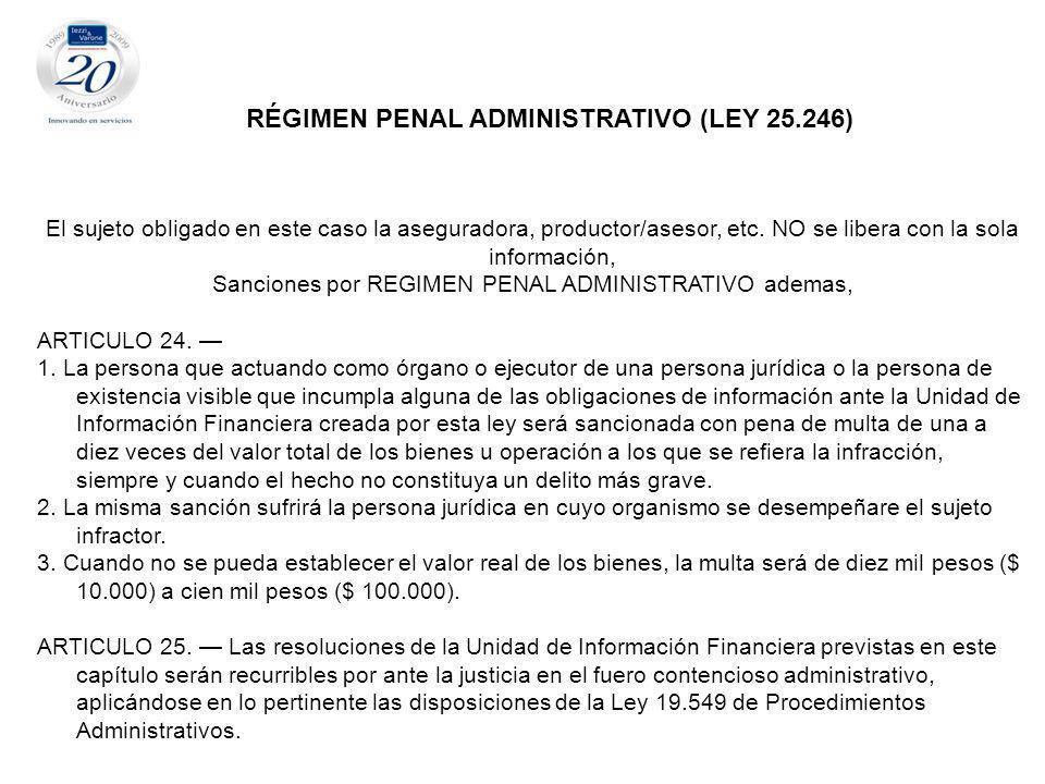 Sanciones por REGIMEN PENAL ADMINISTRATIVO ademas,