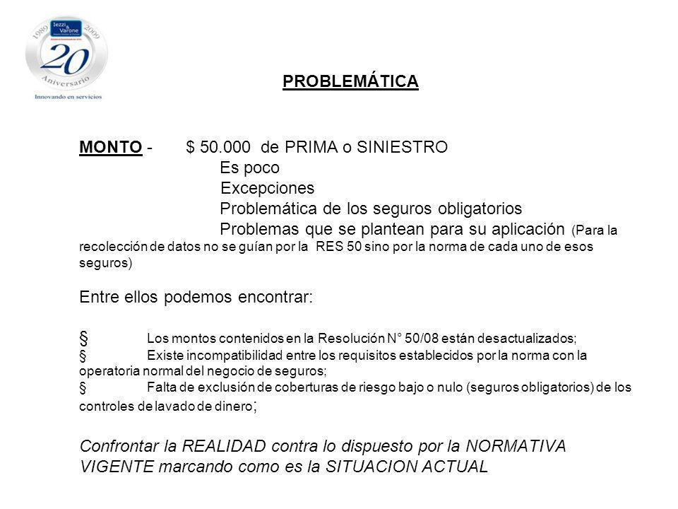 PROBLEMÁTICA MONTO - $ 50. 000 de PRIMA o SINIESTRO