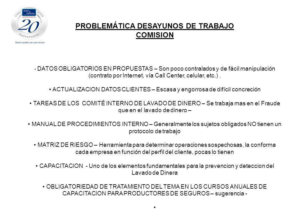 PROBLEMÁTICA DESAYUNOS DE TRABAJO