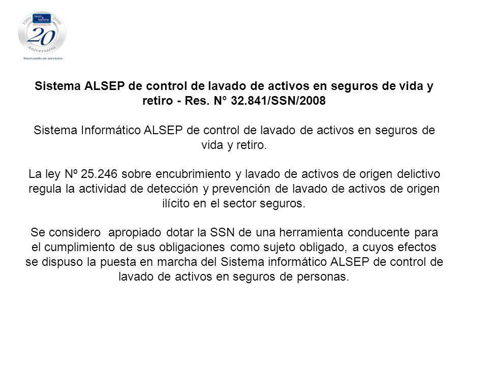 Sistema ALSEP de control de lavado de activos en seguros de vida y retiro - Res. N° 32.841/SSN/2008