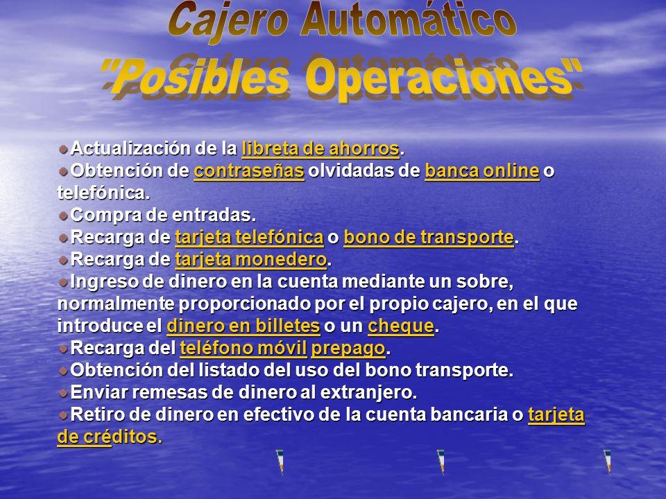 Cajero Automático Posibles Operaciones