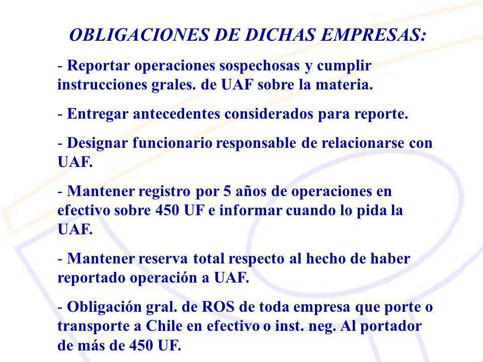 OBLIGACIONES DE DICHAS EMPRESAS:
