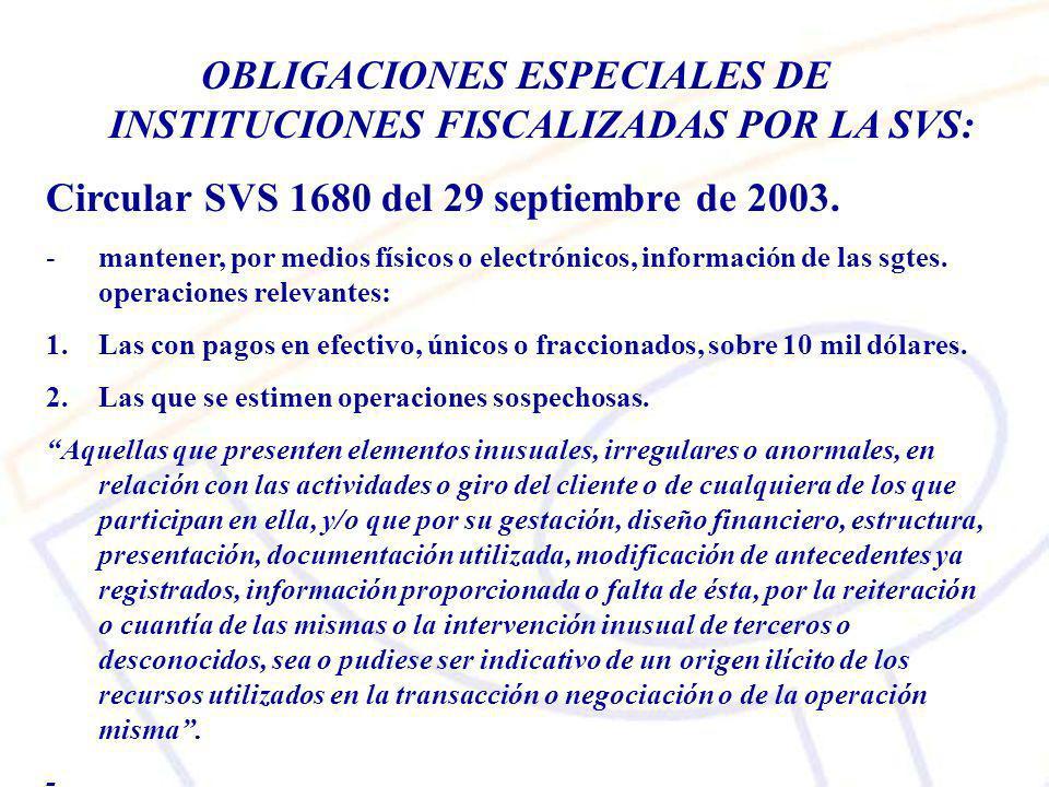 OBLIGACIONES ESPECIALES DE INSTITUCIONES FISCALIZADAS POR LA SVS: