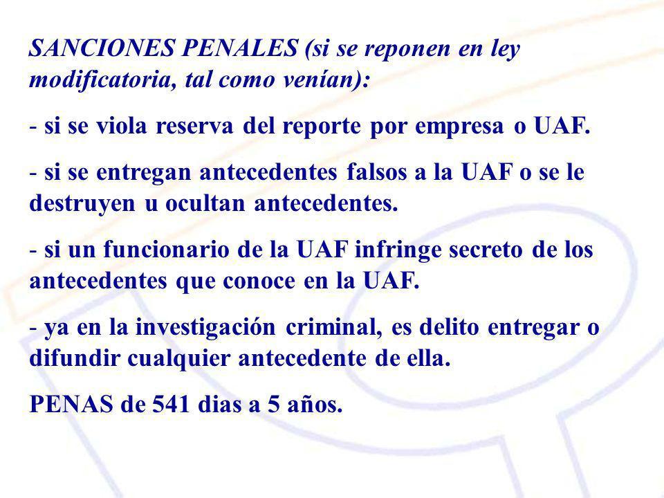 SANCIONES PENALES (si se reponen en ley modificatoria, tal como venían):