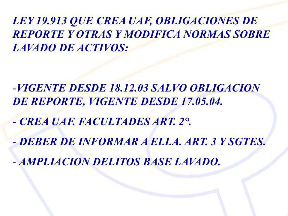 LEY 19.913 QUE CREA UAF, OBLIGACIONES DE REPORTE Y OTRAS Y MODIFICA NORMAS SOBRE LAVADO DE ACTIVOS: